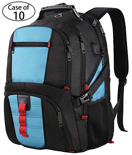 Case of 10,Large Capacity Travel Computer Laptop Backpack with Organizer Pockets/USB Port/Headphone Hole for Men&Women,Water Repellent Big Casual Work School Bookbag Fit 17Inch Notebooks-Blue