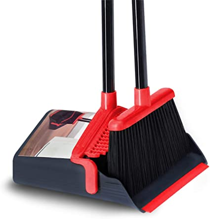 Broom And Dustpan Set Upright Self-Cleaning Sweeping Standing Use For Office