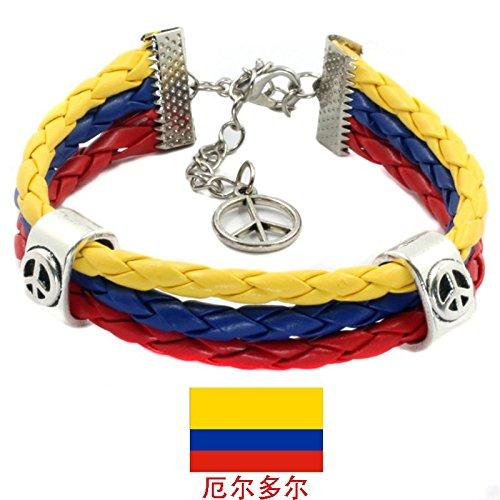 - Sykdybz Woven Leather Cord Bracelet Pu Leather Chain Bracelet National Flag Commemorative Edition,Ecuador
