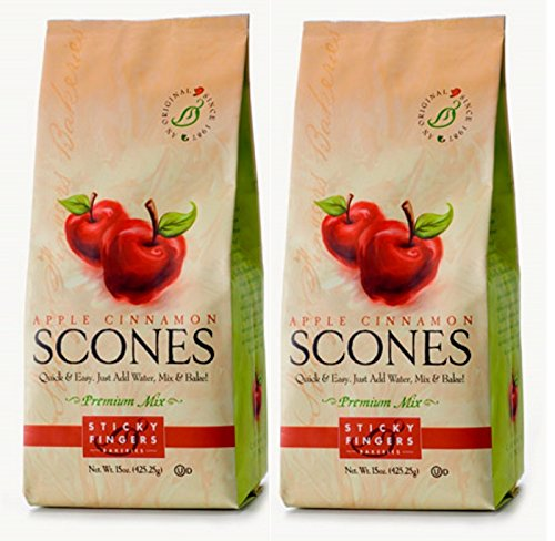 Apple Scone Mix - Sticky Fingers Scone Mix (Pack of 2) 15 Ounce Bags - All Natural Scone Baking Mix (Apple Cinnamon)