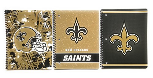 New Orleans Saints Wide Ruled Spiral 1 Subject Notebook Bundle - 3 Notebooks, 3 Different Designs