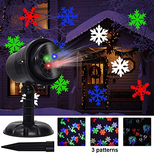 Twinkle Star Christmas Light Projector with 3 Switchable Lenses-Snowflakes/Elf/Fireworks Pattern Multicolor Moving Lights, LED Landscape Spotlight for Indoor Outdoor Holiday Party Xmas Decoration (Star Light Projector Christmas)