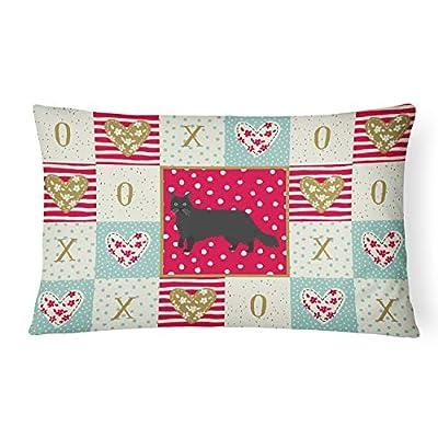 Caroline's Treasures CK5575PW1216 Black Chantilly Tiffany Cat Love Canvas Fabric Decorative Pillow, 12H x16W, Multicolor : Garden & Outdoor