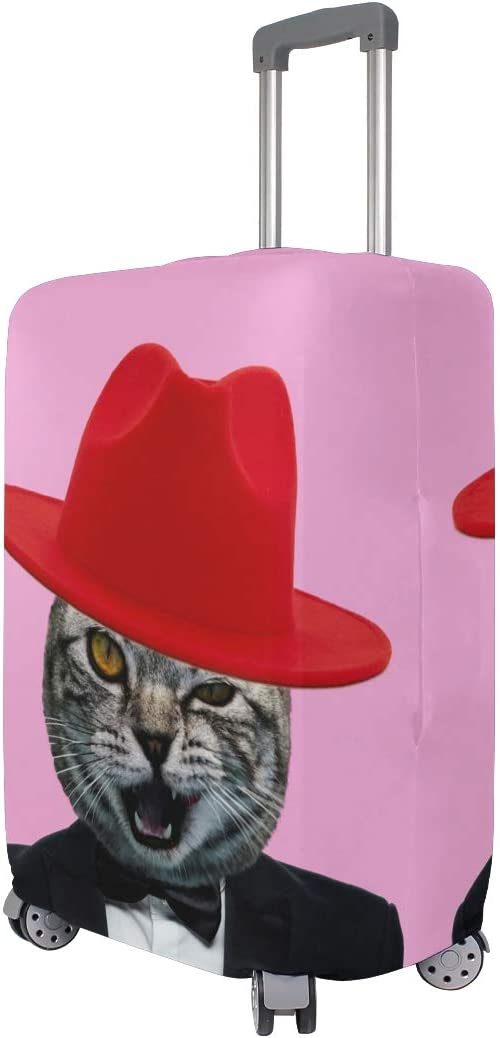 FOLPPLY Funny Cat With Hat Luggage Cover Baggage Suitcase Travel Protector Fit for 18-32 Inch