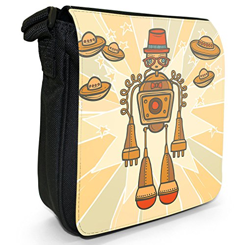 Small Bag Black Hipster Retro Orange Canvas Moustache Size Robot Robots Shoulder rEYqEyAS