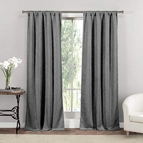 Home Maison Rebecca Metallic Rod Pocket Window Curtain 2 Panel Drapes, 37 x 84, Charcoal ()