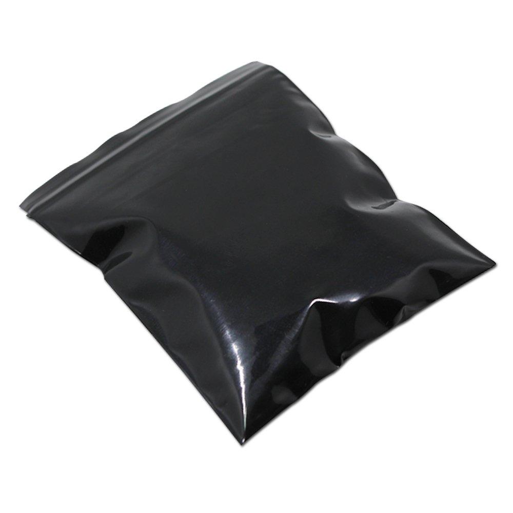 2.7x3.9 inch Black Color Moisture Proof Zipper Top Grip Seal Packaging Bags Dark Soft Waterproof Storage Bag Self Seal Ziplock Plastic Grocery Poly Valve Package Pouch 200 Pieces