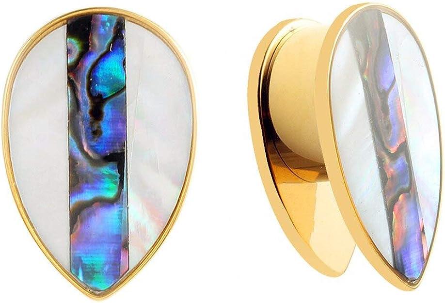 Casvort 2 PCS Black Detachable Heart Dangle Ear Plugs Piercing Body Jewelry Stainless Steel Ear Gauges Stretchers