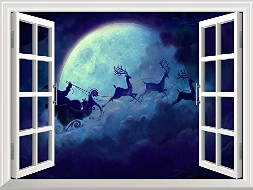 Removable Wall Sticker Wall Mural Santa Claus Flying at Christmas Eve Open Window Mural Wall Sticker