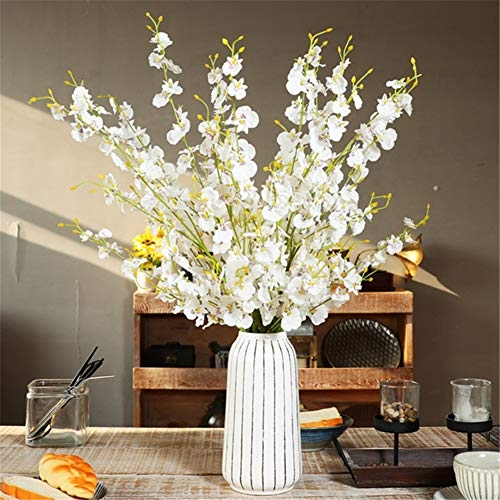 FuleHouzz 12 Pcs Artificial Orchid Flowers Silk Oncidium Orchid Flowers Stem in Bulk for Wedding Home Office Decor, White