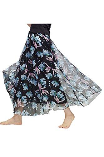 Boho Mousseline Simgahuva Floral Swing Plage 2 Jupe Maxi De Vintage La xttS0wqPZ