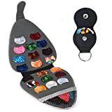 PlasMaller Guitar Pick Holder Case Bag with 6pcs Acoustic Electric Guitar Colorful Picks 0.46mm/ 0.71mm/ 0.96mm + Little Picks Holder Set
