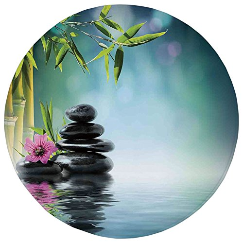 Round Rug Mat Carpet,Spa Decor,Tower Stone and Hibiscus with Bamboo on the Water Blurred Background,,Flannel Microfiber Non-slip Soft Absorbent,for Kitchen Floor Bathroom by iPrint