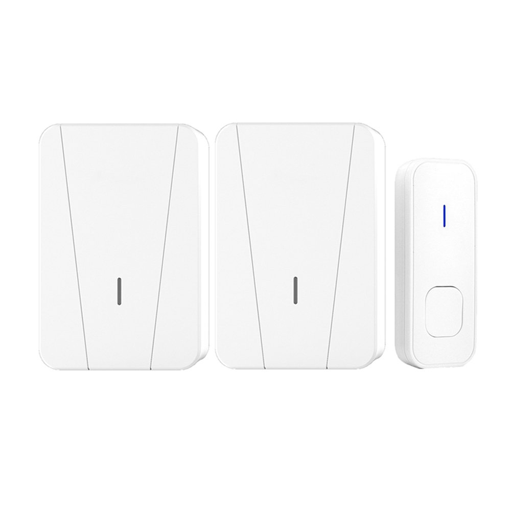 Wireless Doorbells for Home Battery Operated, Waterproof Chime Kit Operating at 950 Feet with 1 Remote Push Button Transmitter 2 Plug-in AC Receivers, 55 Melodies, 5 Level Volume, LED Flash