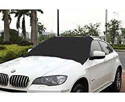 Cutequeen Premium Windshield Snow Cover & Sun Shade Protector-windproof Magnetic Edges-door Flaps-sizes For All Vehicles-covers Wipers - Ice,snow,frost Guard