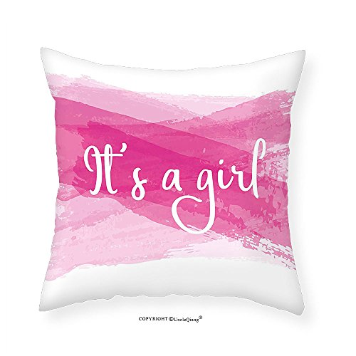 VROSELV Custom Cotton Linen Pillowcase Gender Reveal Decorations Girls Baby Shower Family New Member Style Soft Artsy Sketch for Bedroom Living Room Dorm Hot Pink White - New Selena Gomez Boyfriend