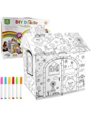 Kids Playhouse Doodle Drawing House Coloring,DIY 2.2 Feet Tall Large Cardboard Coloring Creative Crafts Play House Project Assemble,Decorate & Personalize A Cardboard Fort