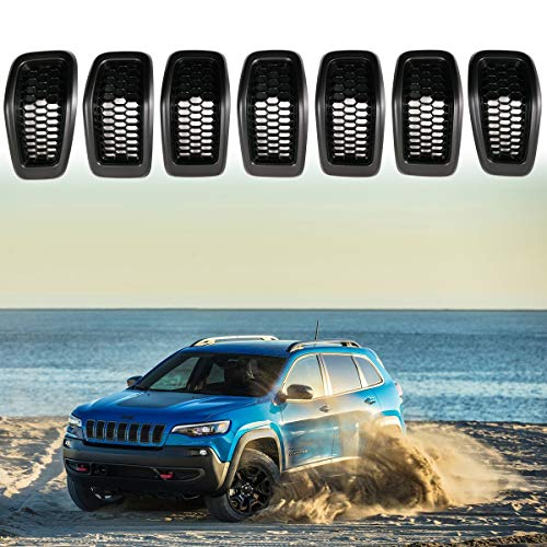 XBEEK 2014-2018 Jeep Cherokee Gloss Front Grille Grill Inserts Covers 7pcs (Gray and - Honey Gloss