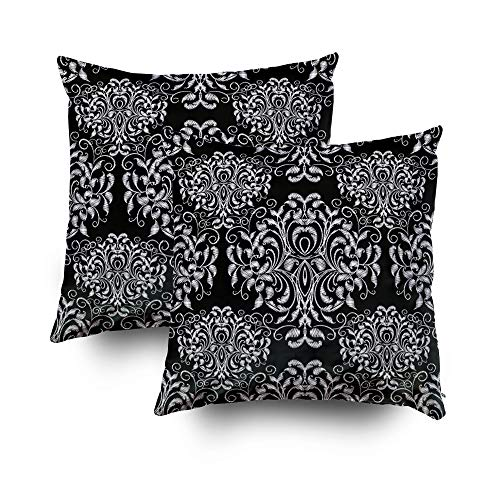 Shorping Zippered Covers Pillowcases 18X18 Inch 2 Pack Vintage Floral Pattern Black White Grunge Background Embroidery Flowers Swirl Leaves Damask Decorative Throw,Cushion Cover for Home Sofa Bedding