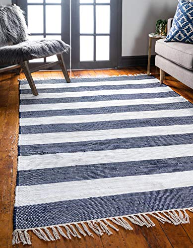 Unique Loom Chindi Rag Collection Hand Woven Striped Natural Fibers Navy Blue Area Rug (6' 0 x 9' 0)