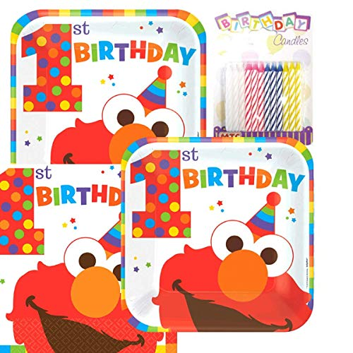 Lobyn Value Pack Sesame Street's Elmo Fun To Be One 1st Party Birthday Plates and Napkins Serves 16 With Candles