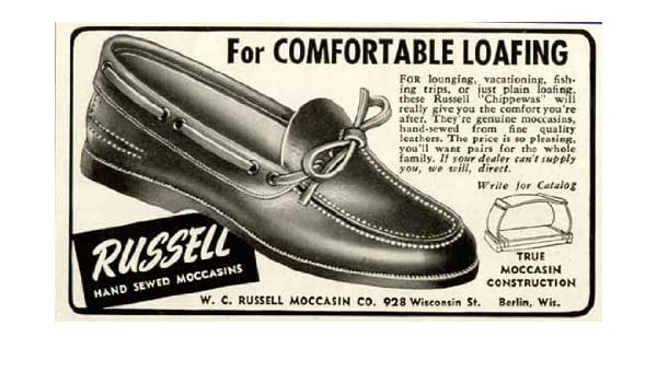 Amazon.com: 1950 AD for Russell Hand Sewed Moccasins of Berlin, WI. Original Paper Ephemera Authentic Vintage Print Magazine Ad/Article: Posters & Prints