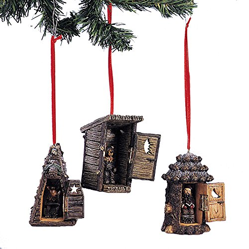Youngs Resin Outhouse Ornament 3 Assorted ()
