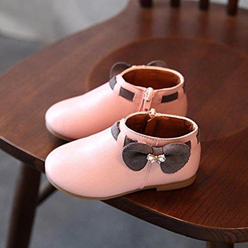 Clode® Baby Mädchen Kinder Weisebowknot Mode Sneaker Aufladungs Reißverschluss Beiläufige Schuhe Rosa