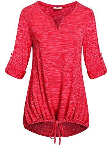 Gathered Bust Top (Cestyle Long Sleeve T Shirt Women, Juniors Henley 3/4 Long Sleeve Hi Low Tops Ruched Blouse V Neck Gathered Workout Tunic Tee Red Large)