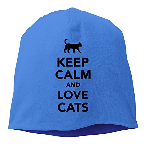 (DMN Fashion Solid Color Keep Calm And Love Cats Watch Cap For Unisex RoyalBlue One Size)
