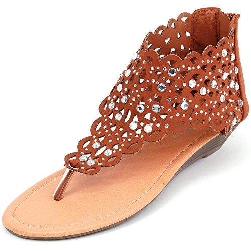 Vrouwen T Riem Strass Feestkleding Gladiator Romeinse Platte Sandalen Schoenen Bruin