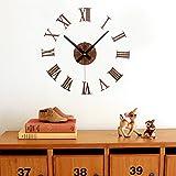 Alrens_DIY(TM)Roman Numerals 3D Acrylic Silent Non-ticking Quartz Creative Antique DIY Self Adhesive Home Decor Digital Home Décor Retro Art Wall Clock Housewarming Gift Living Room Decoration (Brown)