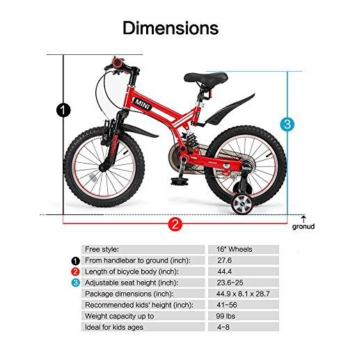 RASTAR Full Suspension Kid's Bike, Mini Cooper Kid's Bicycle 16 inch - Red, Top for Kids 2018 by RASTAR (Image #2)
