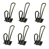 Echaprey Iron Heavy Duty Rustic Retro Hanging Coat Hook Metal Loop Design Wall Double Hangers Hooks for Home Office Decor (Green Bronze, 6Pcs)