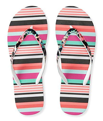 Aeropostale Women's Color Stripe Flip-Flop 8 Black