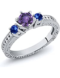 0.71 Ct Round Purple Amethyst Blue Sapphire 925 Sterling Silver 3-Stone Ring