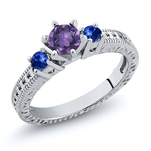 0.71 Ct Round Purple Amethyst Blue Sapphire 925 Sterling Silver 3-Stone Ring (Round Sapphire Purple)