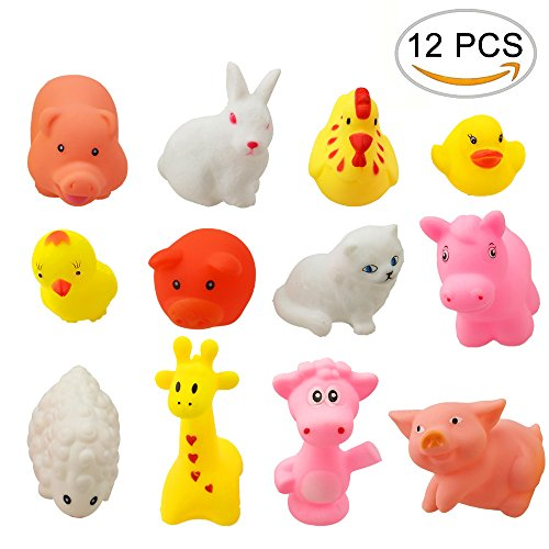 Animal Sounds Toddler - Creative Cute Animals Colored Soft Rubber Squeeze Sound Baby Wash Shower Bath Toys for Kids, Toddlers, Boys and Girls, 12PCS by CSPRING
