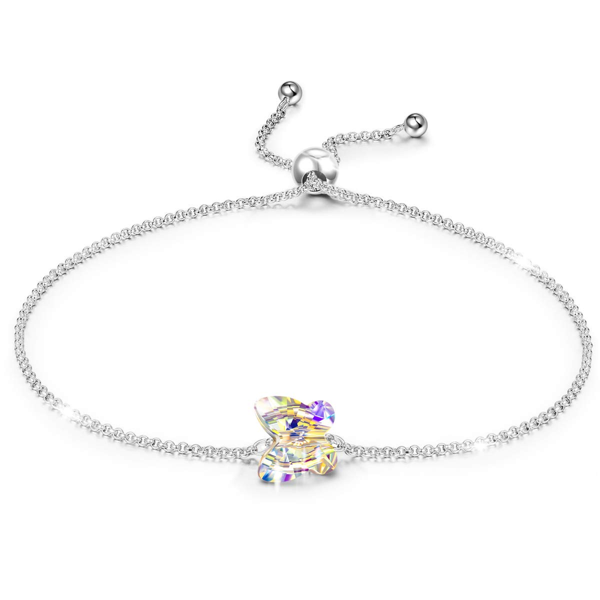 LADY COLOUR Bracelets Gifts for Girls 925 Sterling Silver Butterfly Bracelet Swarovski Crystal Fine Jewelry for Women Birthday Gifts for Women Teens Anniversary for Her Wife Daughter