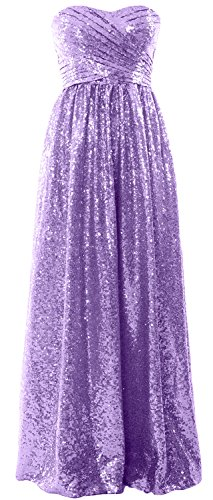 Party MACloth Long Women Evening Dress Sequin Formal Strapless Lavendel Bridesmaid Gown qTO60T