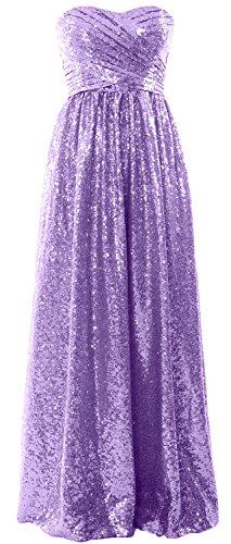 MACloth Women Strapless Sequin Long Bridesmaid Dress Formal Party Evening Gown Lavanda