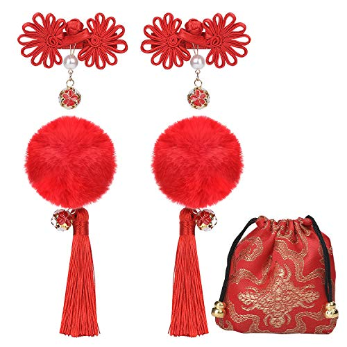 Chinese Style Girls Hairclips Set (Red) -