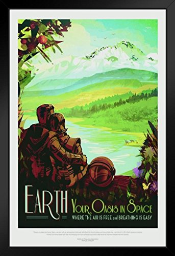 Earth Your Oasis in Space NASA Space Travel Framed Poster 14x20 inch ()