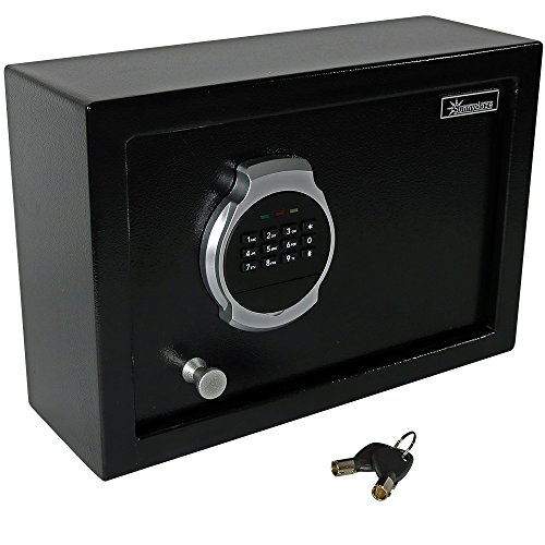Sunnydaze Digital Security Safe Lock Box with Bolt-Down Hardware and Programmable Lock - for Home, Business, or Travel, 0.28 Cubic Feet