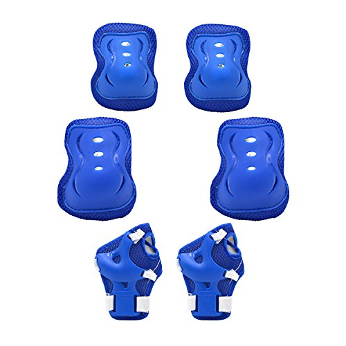 Kid's Adjustable Sports Protective Gear Set -Knee Pads Elbow Pads Wrist Guards for Skating Cycling Outdoor Sports as Birthday, Christmas Gift (blue)