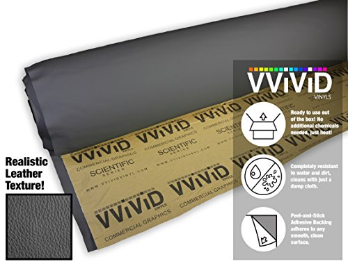 (VViViD Grey Adhesive Weatherproof Faux Leather Marine Vinyl (1.49ft x 54