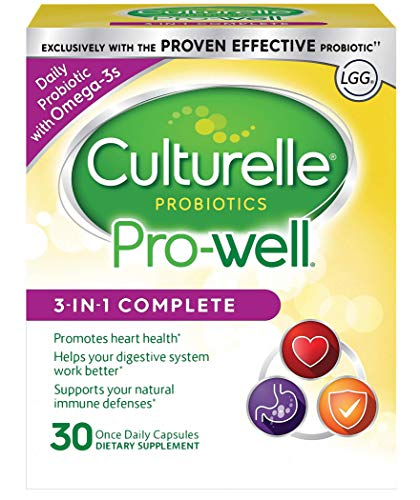 Culturelle Pro-Well 3-in-1 Complete Daily Formula, Once Per Day Dietary Supplement, Contains 100% Lactobacillus GG -The Most Clinically Studied Probiotic, Plus Omega 3's, 30 Count Culturelle Probiotic Dietary Supplement Capsules