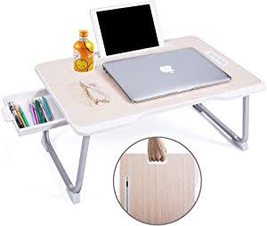 Baodan Laptop Bed Table with Storage, Foldable Laptop Desk Stand Breakfast Tray, Multifunction Lap Tablet with Drawer for Eating, Studying on Bed/Sofa/Couch/Floor-Yellow