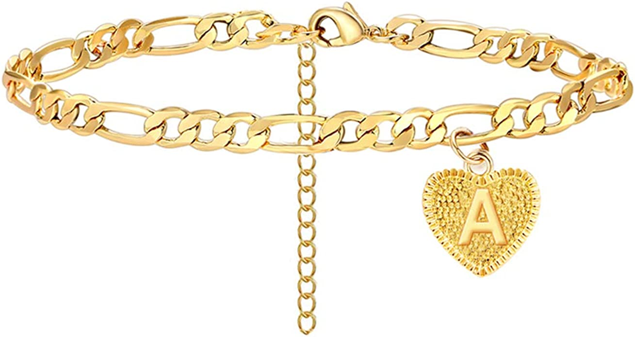 Initial Anklet Silver Ankle Bracelets for Women Figaro Chain Letter Anklet with Initials Cute Summer Initial Anklets for Women Girls