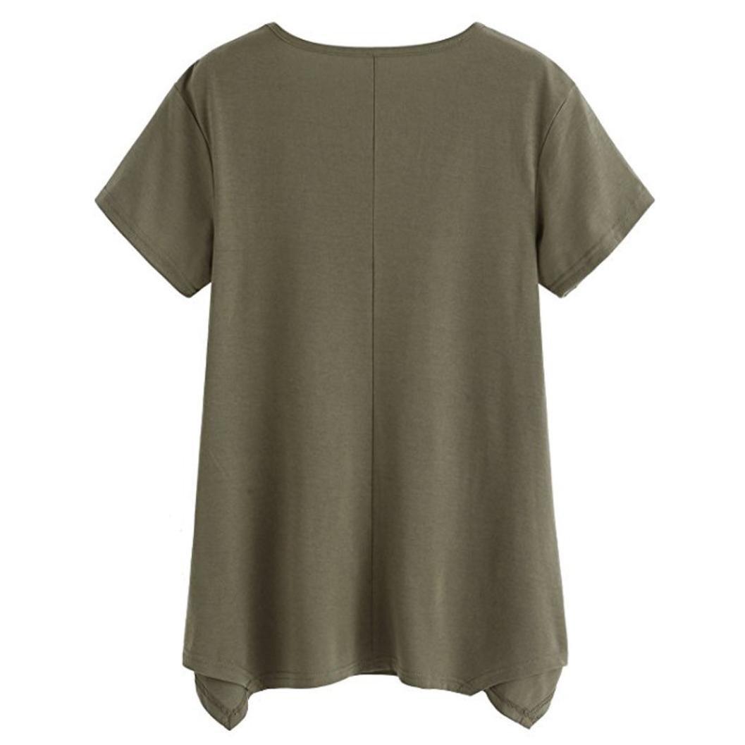 2018 Moda para mujer de manga corta camiseta de bolsillo camiseta Túnica suelta Tops Sudaderas sudaderas mujer ☆Longra: Amazon.es: Alimentación y bebidas